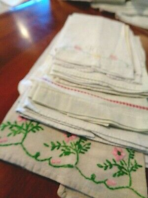 Large collection of 11 Antique hand towels