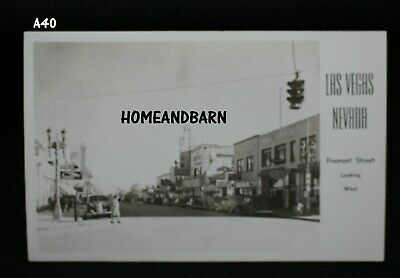 Old Real Photo Postcard Las Vegas Nevada Fremont Street Looking West Downtown