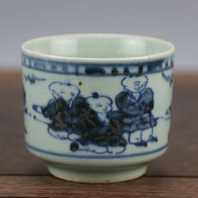 China old hand-carved porcelain Blue and white child pattern Kung fu tea cup b01