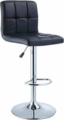 Powell Black Quilted Faux Leather And Adjustable Height Bar Stool 212-851