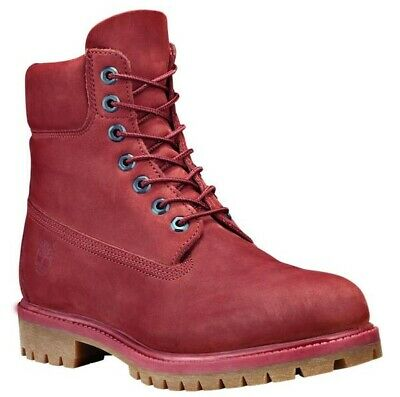 Timberland Men's Premium 6 inch Classic Leather Boots Red / Burgundy A1QYG