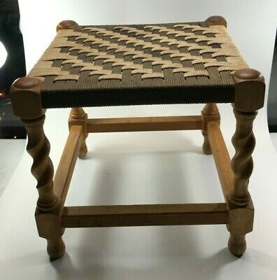 Vintage Wooden Stool - Retro Design - Hand Made - Woven Top <Hm04