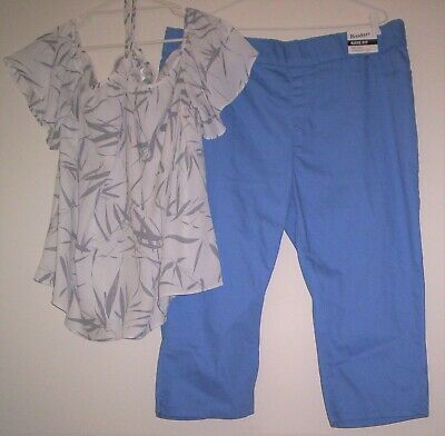 Lovely Silver & White Strappy Top & Sky Blue Capri Pants BREAKERS NWT Sz 20