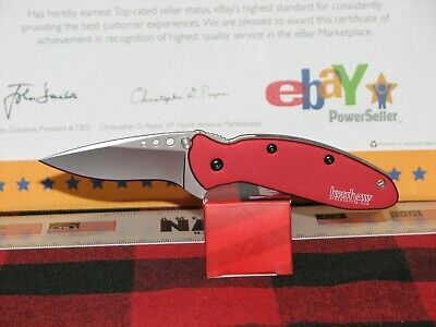 Kershaw Knife 1620Rd Scallion Red Assisted Open W/Clip & Lock Ken Onion Usa Made
