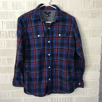 Gap lined flannel plaid button down shirt boys 16 blue red