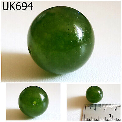 Real Authentic Old Natural Emerald Green Jade Carved Ball Sphere Bead #UK694a