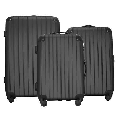 Set of 3 Luggage Travel Bag ABS Trolley Spinner Suitcase with TSA Lock Black