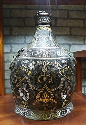 Chinese bronze flat pot inlays gold&silver wine container vessel pot Zun