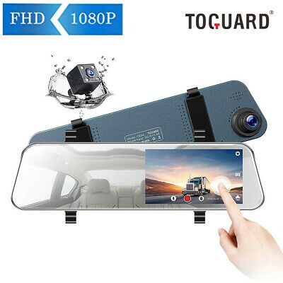 TOGUARD Dual Front + Rear 1080P FHD Dash Cam Touch Screen Waterproof Rear Camera