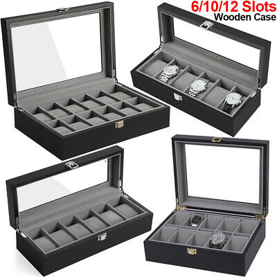 6/10/12 Grid Watch Case Glass Jewelry Display Wooden Box Storage Collection Case