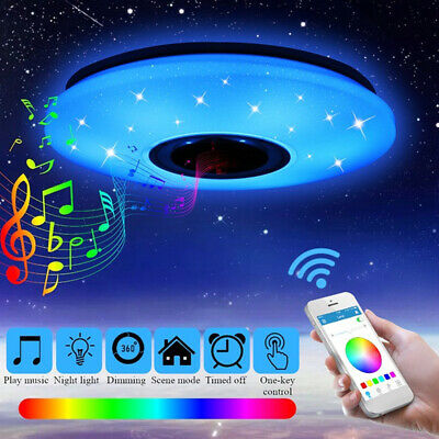 Lámpara de Techo Plafón Bluetooth LED Cambio de Color RGB 60W Regulable Altavoz
