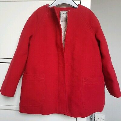Next Girls Winter Red collarless Christmas Fur lined Coat Zipped Size 3-4 Years