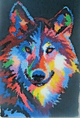"Latch hook rug Kit "" Abstract Wolf Rug "" New animal design By Craftways"