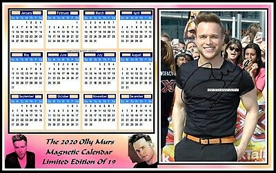 Olly Murs, 2020 Autographed, A4 MAGNETIC CALENDAR. Limited Edition (OM-6)
