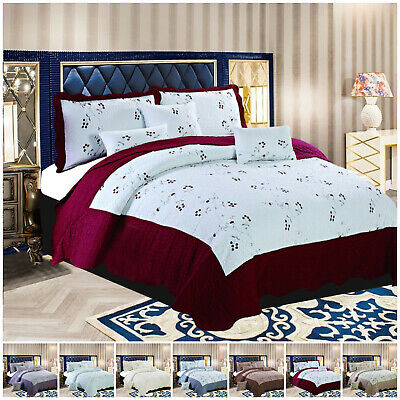 Embroidered Quilted Bedspread Embossed Comforter Throw Bedding Set With Pillows