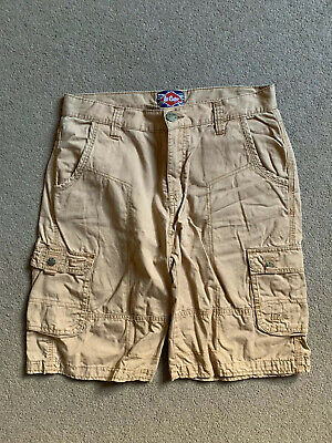 Boys Tan Lee Cooper Combat Chino Shorts - Age 13 Years