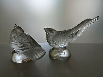 Pair of birds sparrows Bohemian crystal glass signed Ingrid Sudetenland