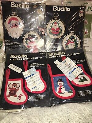 Bucilla Vintage Ornament Kits Holiday Christmas Embroidery Pillow Holiday Hoops