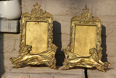 PAIR antique brass art nouveau lion armor 1915 Brussels picture photo frame