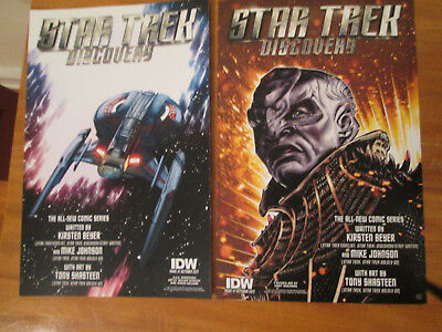 2 sided STAR TREK Discovery IDW PROMO POSTER 2017 COMIC CON NYCC Enterprise