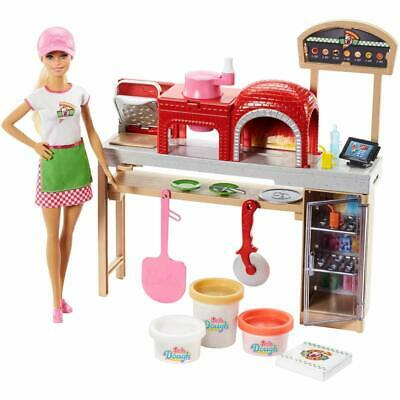 Barbie Pizza Chef Blonde Doll Playset Oven Slicer 3 Colors Dough Accessories Box