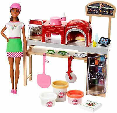 Barbie Pizza Chef Brunette Doll Playset Oven Slicer 3 Colors Dough Accessories