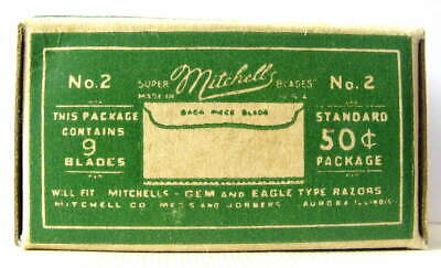 Vintage 1920's MITCHELL 'S #2  FULL BOX SE  Safety Razor Blades