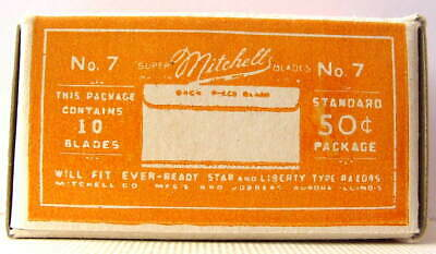 Vintage 1920's MITCHELL 'S #7  FULL BOX SE  Safety Razor Blades