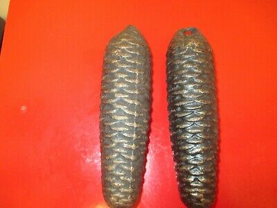 Two 8 day Pine Cone Weights Cuckoo Clock Antique parts .