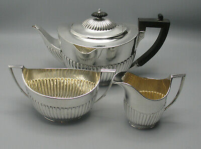 3 Teile Teeservice London 1891 Sterling Silber Top Zustand England