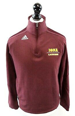 ADIDAS IOWA LACROSSE Mens Jumper Sweater S Small Burgundy Red Polyester 1/4 Zip