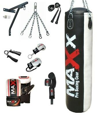 Maxx® 5,4,3 FT Filled Heavy Punch Bag Buyer Build Set,Chains,Bracket,Boxing MMA
