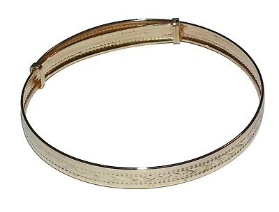 9ct Yellow Gold 6mm Patterned Edge 60mm Oval Bangle Womens Gift Boxed