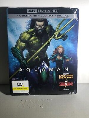Aquaman (4K Ultra HD, Blu-ray, Digital, Steelbook) Brand New