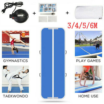 US Airtrack Air Track Floor Home Inflatable Gymnastic Tumbling Mat GYM Pump Blue