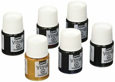 Pebeo Vitrail, Discovery Set Of 6 Assorted Stained Glass Effect Paints, 20 ml
