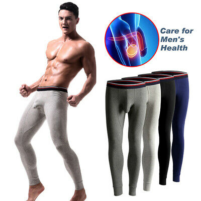 Men Sexy Pants Stretch Thermal  Scrotum Support Bullet Separation Slim Long Pant