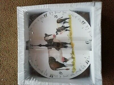 Wooden clock, with cow picture