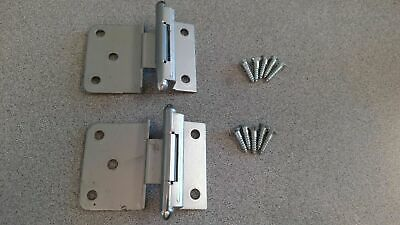 "Cabinet Hinge Retro Hager 1084 3/8"" Inset Dull Chrome With Brass Barrel Nos"