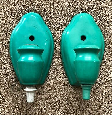 Vintage Green Art Deco Porcelain Sconce Bathroom Wall Fixture Light Pair