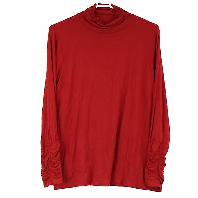 Alfani Womens Banner Red Ruched Bell Drawstring Sleeve Jersey Top MSRP $59 C1519