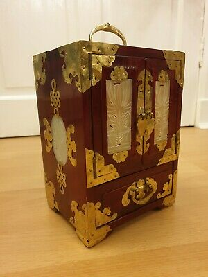 Ornate Chinese wooden jewellery cabinet box