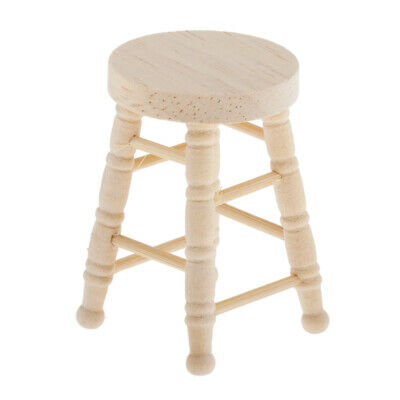 1:12 Dollhouse Round Stool Wooden Antique Footstool Barstool Accessories Decor