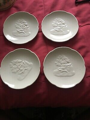 "4 Spode Miniature Plates 4 1/2"" Trees Running Dogs Excellent Condition."