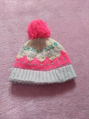 Next Girls Pink and Cream Fair Isle Pom Pom Hat (Age 1-2 Years)No reserve!