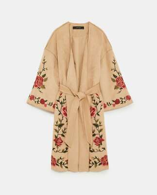 NWT Zara Size XS Faux Suede Floral Embroidery Coat Jacket 6318/029