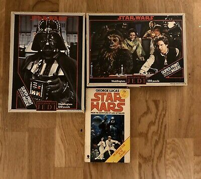 2x Star Wars Jigsaws With Posters + Star Wars Novel By George Lucas Vintage 80s