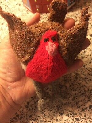 Christmas Hand Knitted Robin Decoration