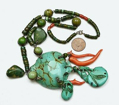 1930's Chinese Turquoise Pendant Coral Carved Carving Bead Charms Necklace