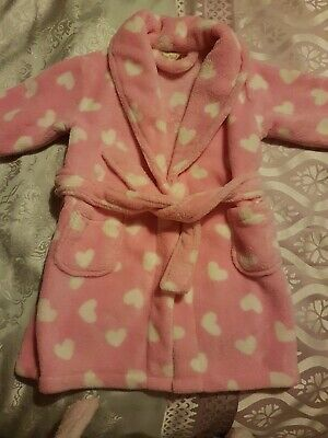 Pink with white hearts Baby Girls' Dressing Gown  Fleece BabyTown 12-18 Months